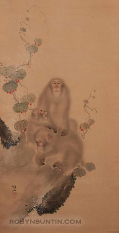 Late or early century Japanese painting of 3 monkeys by Mori Sosen. Mori Sosen was a Kano painter known for his nature studies of animals. He specialized in painting monkeys, and eventually changed his name to Saru, one meaning of which is Japanese Monkey, Japanese Art, Japanese Painting, Chinese Painting, Paint Monkey, Year Of The Monkey, Oriental, Woodblock Print, Asian Art