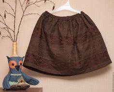 Купить Юбка для девочки коричневая из плотного хлопка с кружевами, бохо - коричневый, однотонный, вышивка, кружево