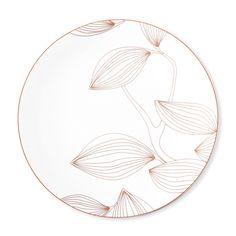 Assiette plate porcelaine motifs feuilles blanc/cuivre D.27cm - OLYMPE par Bruno Evrard