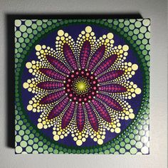 Hand Painted Mandala on Canvas, Meditation Mandala, Dot Art, Calming, Healing, #530 by MafaStones on Etsy