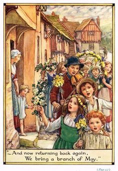 """Cicely Mary Barker Print -  """"WE BRING A BRANCH OF MAY"""" - Offset Lithograph - c1930"""