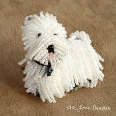 WESTIE beaded West Highland White Terrier pin/ pendant (Made to Order). Created by The Lone Beader at http://blog.thelonebeader.com/