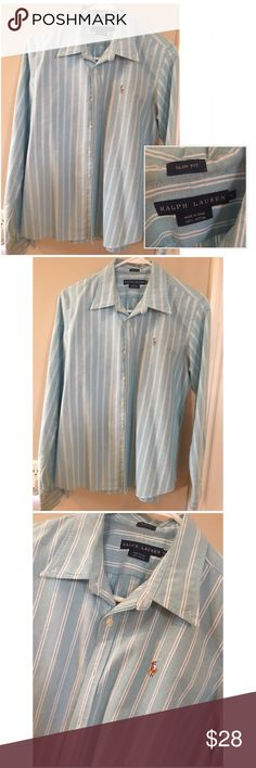 🐴 RL Button Down Gently Worn. Great quality shirt. Slim fit. Size 12. Light blue with white stripes. Ralph Lauren.     Very well taken care of. Always dry cleaned and starched. (NOT DRY CLEAN ONLY).      ✨Top Rated Seller ✨ 💨 Fast Shipping Times 💨 💕Quick Responses 💕 ✅ Great Items ✅ 🛍 Awesome Bundle Deals 🛍 😃Thanks For Visiting! 😃 Ralph Lauren Tops Button Down Shirts