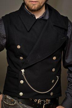 Mens Pinkerton Vest Black - Front
