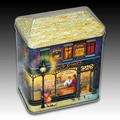 SILVER CRANE COMPANY TIN FAMILY GROCER HOUSE SHAPED CONTAINER   1989
