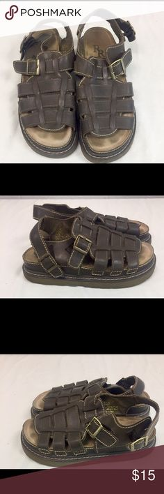 Brown Leather River Rapids size 10 Sandals. Brown Leather with ankle strap that Buckles. Foot cover with open toe. Great condition rarely worn. River Rapids Shoes Sandals & Flip-Flops