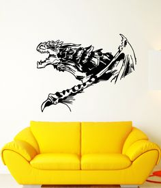Vinyl Wall Decal Fantasy Abstract Fire-Breathing Winged Dragon Stickers (1948ig)