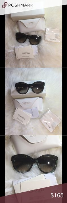 New Authentic Valentino sunglasses New with original package.Beautiful butterfly print in army green color.Original at $376.Price is firm. Valentino Accessories Glasses
