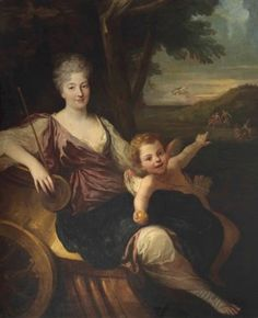 Artwork by French School, late 17th Century, PORTRAIT OF A LADY AS VENUS AND CUPID