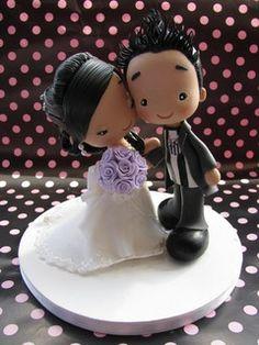 Fofinhos | Flickr - Photo Sharing! Wedding Cake Toppers, Cupcake Toppers, Wedding Cakes, Polymer Clay Creations, Polymer Clay Art, Wedding Doll, Cake Tutorial, Xmas Crafts, Cold Porcelain