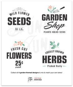 Wild Flower Seeds 10 LB garden stencil by Funky Junk's Old Sign Stencils celebrates all things garden, crate or grain sack style! Big, bold timeless letters with a decorative flourish. Compact for smaller garden projects. Vintage Planters, Diy Planters, Garden Planters, Ikea Crates, Gaming Wall Art, Seed Shop, Funky Junk Interiors, Sign Stencils, Personalized Pillows