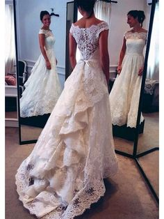 BATEAU LACE LONG SLEEVES ZIPPER BACK CHAPEL TRAIN CHIFFON WEDDING DRESS WITH HAND-MADE FLOWER