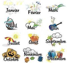 Les mois de l'année.