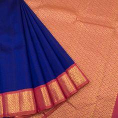 Handloom Blue Pure Zari Korvai Kanjivaram Silk Saree With Floral Border & Pallu 10018220 - AVISHYA.COM