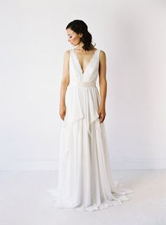 Michelle // Backless Lace and Chiffon Wedding Dress by Truvelle