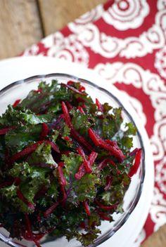 Kale and Beet Salad--super easy, just like the one at Whole Foods! #vegan #grainfree #Paleo | rickiheller.com