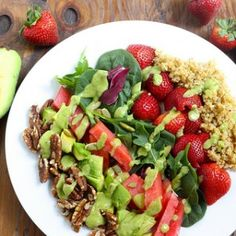 The freshest fruits and greens of the season mixed with quinoa nuts and sunflower seeds for protein and dressed with avocado and citrus. Veggie Recipes, Whole Food Recipes, Salad Recipes, Cooking Recipes, Vegan Vegetarian, Vegetarian Recipes, Healthy Recipes, Healthy Meals, Power Salad