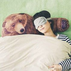 A pillow that gives you a big bear hug every time you doze on his arm... Why don't I have this already