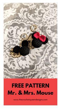 Crochet Bows, Crochet Diy, Crochet Amigurumi, Crochet Gifts, Crochet Key Chain, Crochet Beanie, Crochet Keyring Free Pattern, Crochet Bow Pattern, Disney Crochet Patterns