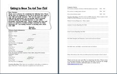 """I like this """"getting to know you and your child"""" sheet."""