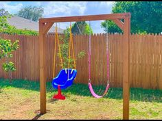 Outdoor Swing Sets, Backyard Swing Sets, Diy Swing, Kids Outdoor Play, Backyard Playground, Backyard For Kids, Outdoor Wooden Swing, Outdoor Swings, Backyard Playset