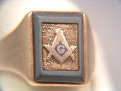 14k Gold Freemason's Masonic Ring With Slate Frame Dated December 25, 1947