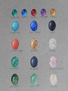 CHIC-EN-CLIPS : BIJOUX ORIGINAUX FAITS MAIN - Velluire : Gouaches pour pierres ornementales et précieuses