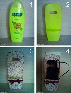DIY: Turn an empty shampoo bottle into a cell phone holder while charging. Phone Charger Holder, Cell Phone Holder, Ipod Holder, Smartphone Holder, Soap Holder, Phone Stand, Plastic Bottle Crafts, Plastic Bottles, Fun Crafts