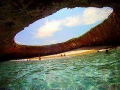 Hidden beach on the Marieta Islands, on the coast of Puerto Vallarta, Mexico