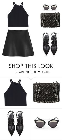"""""""Black"""" by anais-h ❤ liked on Polyvore featuring A.L.C., Chanel, Valentino, D-ID and Mulberry"""