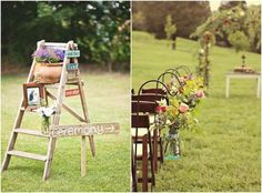 Outdoor wedding decor. Rustic!   Using ladders because of dad's profession