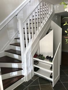 Shoe storage under stairs, under basement stairs, stairway storage, Home, Shoe Storage Under Stairs, House Design, Building Stairs, Staircase Design, Staircase Storage, New Homes, Storage Design, Stairways