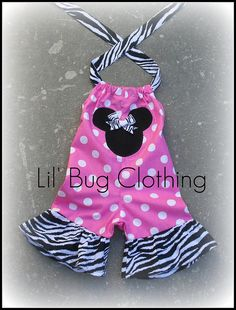 Custom Boutique Minnie zebra pink dot shortall by LilBugsClothing, $34.50