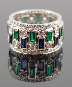 Platinum Diamond,Sapphire and Emerald Ring.Total Diamond Carat Weight Sapphire and Emerald - Yafa Jewelry Bijoux Art Deco, Art Deco Jewelry, I Love Jewelry, Jewelry Rings, Jewelry Accessories, Fine Jewelry, Jewelry Design, Jewlery, Antique Jewelry
