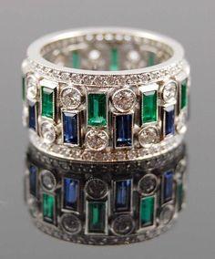 Platinum Diamond Emerald & Sapphire Ring