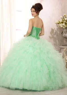 8d8c378a7f2 Quinceanera Dress From Vizcaya By Mori Lee Style 88085 Crystal Beaded Satin  Bodice on a Ruffled