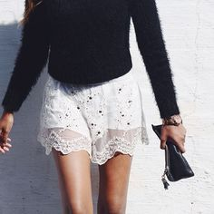 Black sweater and lacy skirt
