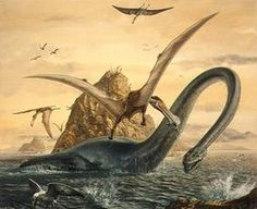 Elasmosaurus;  Late Cretaceous (80.5 Ma); Discovered by Cope, 1868; and flying reptile Criorhynchus simus; Late Cretaceous (110 Ma); Discovered by Owen, 1861. [Note: Criorhynchus also referred to as Pterodactylus simus or Ornithocheirus platyrhinus]