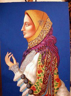 Donna in costume sardo della pittrice Anna Gala  -  Sardinian woman in traditional dress. Anna Gala painter