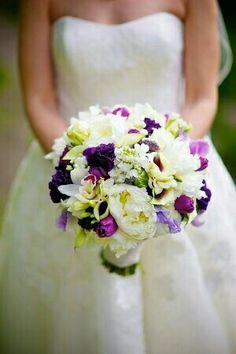 Lush Bridal Bouquet: White Peonies, White Freesia, White/Purple Orchids, White/Purple Picasso Calla Lilies, Purple Anemones, Purple Tulips