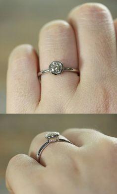 Bezel Set Diamond Engagement Ring in Platinum by LaMoreDesign