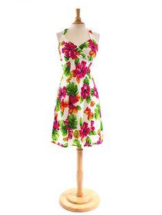 b627aabbbf5 Two Palms Hibiscus Watercolor White Rayon Hawaiian Halter Neck Short Dress