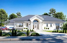 Zdjęcie projektu Willa Parkowa 6 in 2020 Modern Bungalow Exterior, Modern Bungalow House, Bungalow House Plans, House Plans Mansion, My House Plans, One Storey House, House Outside Design, Beautiful House Plans, Village House Design