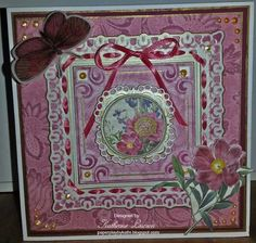 Pink Flowers and Butterfly Card
