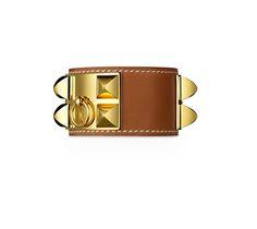 "Hermès | Collier de Chien Hermes leather bracelet  Natural barenia calfskin GHW  2.25"" diameter, 6.7"" circumference.  Ref. H066851CC34S $1,150.00"