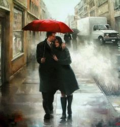 Beautiful Paintings by Daniel Del Orfano. Born and raised on Long Island, New York, Daniel received his BFA in Art Education in Dowling College in Umbrella Art, Under My Umbrella, Umbrella Painting, Walking In The Rain, Singing In The Rain, Romantic Paintings, Beautiful Paintings, Rain Art, Rainy Days