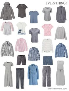 22 piece travel capsule wardrobe in grey, blue and pink Travel Capsule, Travel Packing, Summer Minimalist, The Vivienne, Dresses For Less, Warm Outfits, Pink Tops, Capsule Wardrobe, Plus Size Fashion