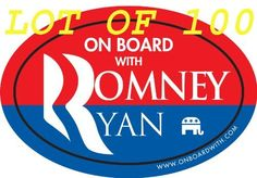 """Quantity 100 - """"ON BOARD WITH ROMNEY / RYAN"""" 4""""x6"""" OVAL BUMPER STICKERS (decal car sign gop anti obama nobama republican 2012 presidential election) by OnBoardWith.com by OnBoardWith.com, http://www.amazon.com/dp/B0098V1YGG/ref=cm_sw_r_pi_dp_vq9zqb0SQSYJ9"""