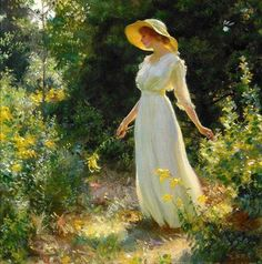 A Spray of Goldenrod or Woman in a White Dress in a Garden by Charles Courtney Curran | Art Posters & Prints Old Paintings, Beautiful Paintings, Horse Paintings, Pastel Paintings, Indian Paintings, Abstract Paintings, Landscape Paintings, Image Positive, Tableaux Vivants
