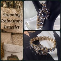 Rhinestone Floral Design Bracelet This vintage style bracelet is a true statement piece. Features clear rhinestones set on gold tone setting. Stretch design. Truly beautiful! See my other special occasion jewelry! (This closet does not trade) Son Paises Jewelry Bracelets